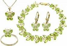 Galaxy Gold Products , Inc 2625 Komplet biżuterii z oliwinów