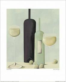 Butelki i lampki wina - Obraz, reprodukcja