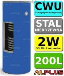 CHEŁCHOWSKI 200L 2-wężownice Nierdzewka Solar, 2W Zbiornik Zasobnik Wymiennik Bo