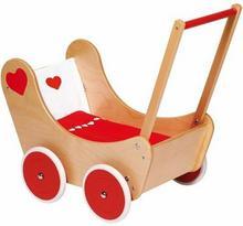 Goki Drewniany wózek dla lalek. Serduszko 51740