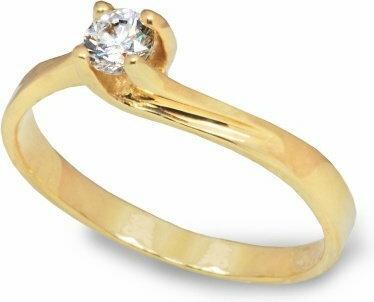 Rubicello złoto pierścionek z cyrkonia - P024