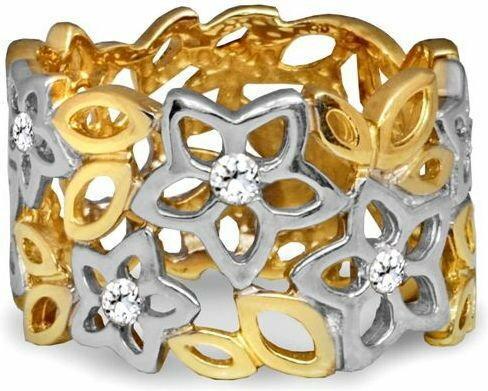 Rubicello Pierścionek z cyrkoniami białe i żółte złoto - P063