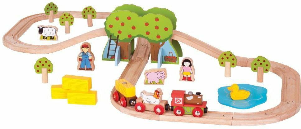 Kolejka drewniana - zestaw Farma 44 el.