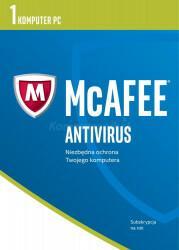 McAfee AntiVirus 2017 BOX PL 1 device licencja na rok