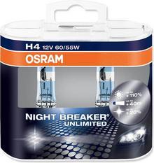 OSRAM 2x H4 NightBreaker UNLIMITED + 110% światła duo pack