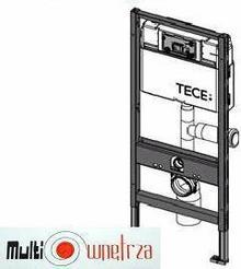 Tece profil - Uniwersalny Stelaż podtynkowy Do kompaktu WC ze spłuczką podtynkową uruchamianą z przodu z wyjściem umożliwiającym podłączenie odciągu zapachów. 9.300.003
