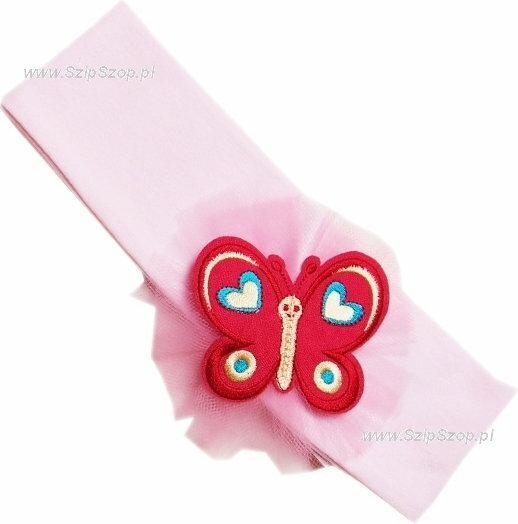 Opaska dla dziewczynki Motylek jasny róż 41cm