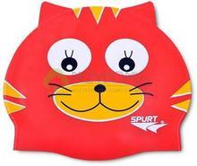 Spurt Czepek na basen silikonowy czerwony kot F203