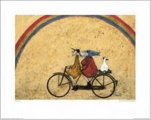 Para na rowerze, Tęcza - Obraz, reprodukcja
