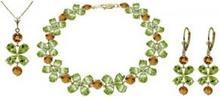 Galaxy Gold Products , Inc 1634 Komplet biżuterii z oliwinów i cytrynów