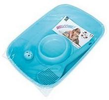 Zestaw Argi pro kotě toaleta lopatka miska a míček 37 x 27 x 8,5 cm Niebieska