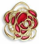 Opinie o Nicole Barr (UK) Złoty wisiorek róża z emalią i brylantami, złoto 18K