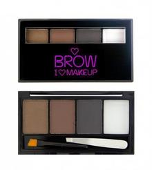 Makeup Revolution I Heart MAKEUP Brow Kit Paletka cieni do brwi z akcesoriami -