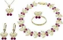 Galaxy Gold Products , Inc 2629 Komplet biżuterii z opali i rubinów
