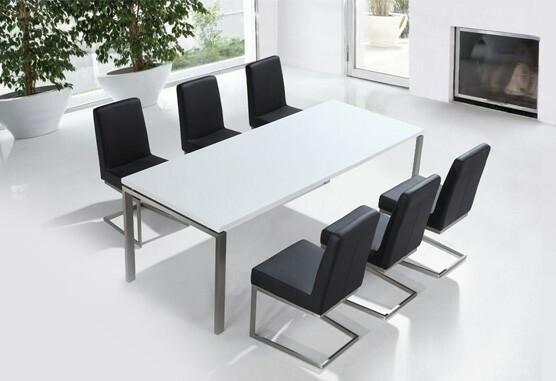Beliani Beliani Zestaw mebli stal szlachetna – Stół 220 Krzesła do wyboru - ARCTIC II biały