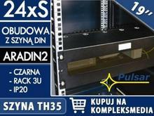 PULSAR 24x1S - Obudowa 3U z szyną DIN do szaf RACK 19 marki W PAKIETACH KUPISZ TANIEJ! ARADIN2
