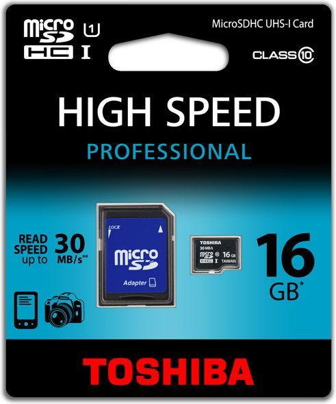 Toshiba Micro SDHC Class 10 (+ adapter) 16GB