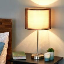 Lampenwelt Nica - lampa stołowa z brązowym abażurem