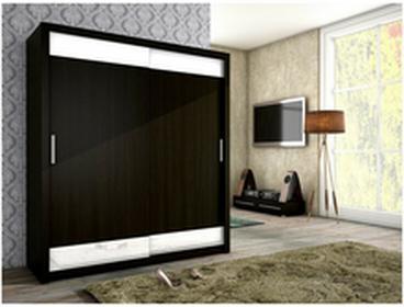 Szafa przesuwna 180x200x62cm MalysMeble VERA wenge + białe szkło MM-SZVERAWENGE