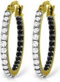 Galaxy Gold Products , Inc (USA) 5229 Kolczyki koła z czarnymi i białymi brylanta