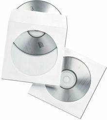 Fellowes Koperty z okienkiem na płyty CD/DVD, białe, 50 sztuk 90690