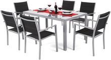 Meble ogrodowe aluminiowe Corfu Silver / Black 6+1