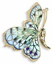 Nicole Barr (UK) Złota broszka motyl z brylantami, złoto 18K