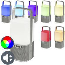 QAZQA Glosnik Bluetooth LED z powerbankiem srebrny