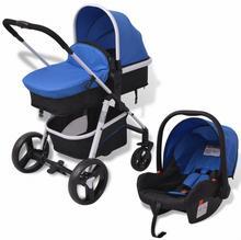 vidaXL Wózek wielofunkcyjny 3w1 aluminium niebieski i czarny