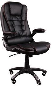 GlobalPlayers Fotel biurowy BRUNO czarny (czerwona nić) z masażem