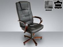 Beliani Skórzane krzeslo Fotel biurowy z masazem sterowanie pilotem czarny DIAMO