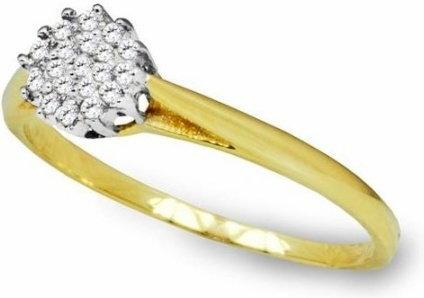 Rubicello Pierścionek z cyrkoniami z białego i klasycznego złota- P036