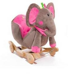 KinderKraft Grający słoń na biegunach różowy