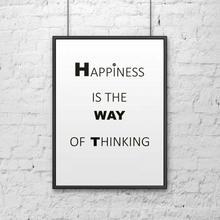 DekoSign Plakat dekoracyjny w ramie HAPPINESS biały DS-PL1-0