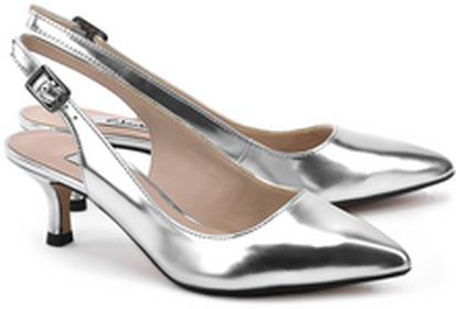 Clarks Aquifer Belle Silver Metallic - srebrny Skórzane Sandały Damskie - 261054