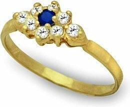 Rubicello złoto pierścionek z szafirem i cyrkoniami - P101