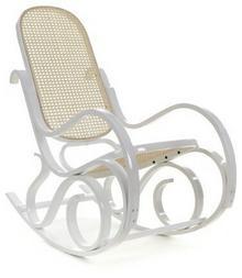IMAGGIO Fotel bujany z białymi płozami, wykończony rattanem