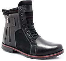 Kent 237 CZARNY+WELUR - Męskie buty zimowe skóra 237 CZARNY+WELUR