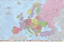 Polityczna mapa Europy (Flagi ang.) - plakat