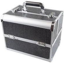 kuk08 Kuferek kosmetyczny Aluminiowy dla stylistek Czarny z cyrkoniami