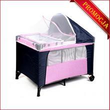 FUN BABY Kojec dla dzieci, łóżeczko z daszkiem-różowe. Moskitiera GRATIS!