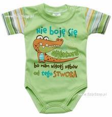Body dla dzieci z napisami krótki rękaw Nie boję się aligatora bo mam więcej zęb