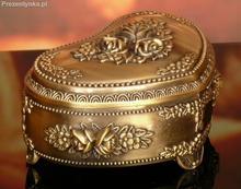 Szkatułka serce stare złoto