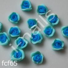 Ceramiczne Ozdoby do paznocki 3D róże podwójnie kolorowe fcf65 (4szt.) morskie