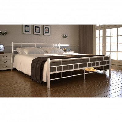 Metalowe Białe łóżko 140x200 Cm Materac Z Pianki Anatomicznej