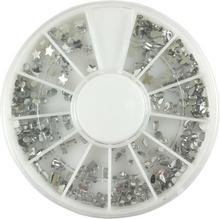 Zestaw srebrnych cyrkonii i kryształków do zdobienia paznokci