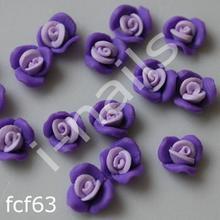 Ceramiczne Ozdoby do paznocki 3D róże podwójnie kolorowe fcf63 (4szt.) fioletowe