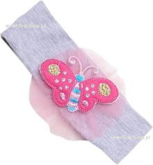 Opaska dla dziewczynki Motylek szary melanż z nalinowym motylkiem 47cm