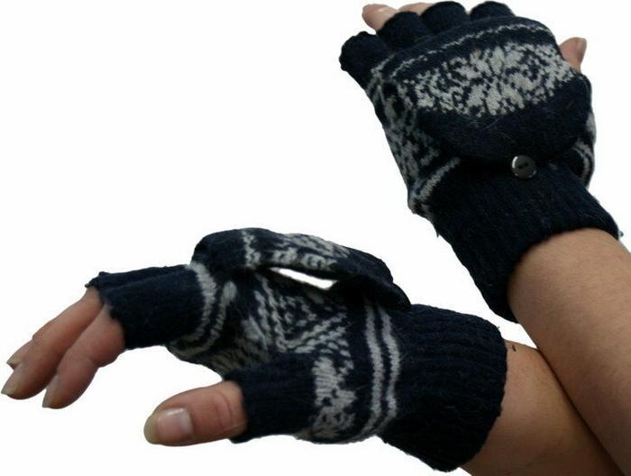 Ciepłe rękawiczki góralskie - granatowe Promocja