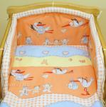 Mamo-Tato pościel 2-el Bociany w ceglastym pomarańczu do łóżeczka 70x140 cm